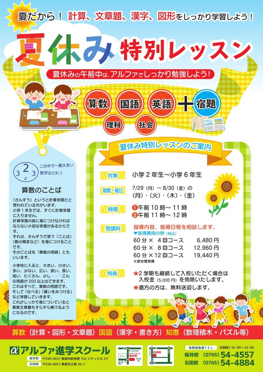 小学生の夏休み特別レッスン!お申込み受付中です!
